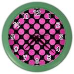 CIRCLES2 BLACK MARBLE & PINK BRUSHED METAL (R) Color Wall Clocks