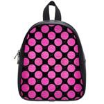 CIRCLES2 BLACK MARBLE & PINK BRUSHED METAL (R) School Bag (Small)