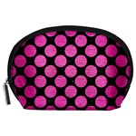 CIRCLES2 BLACK MARBLE & PINK BRUSHED METAL (R) Accessory Pouches (Large)