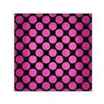 CIRCLES2 BLACK MARBLE & PINK BRUSHED METAL (R) Small Satin Scarf (Square)
