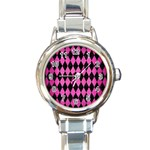 DIAMOND1 BLACK MARBLE & PINK BRUSHED METAL Round Italian Charm Watch