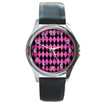 DIAMOND1 BLACK MARBLE & PINK BRUSHED METAL Round Metal Watch