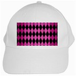 DIAMOND1 BLACK MARBLE & PINK BRUSHED METAL White Cap