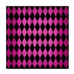 DIAMOND1 BLACK MARBLE & PINK BRUSHED METAL Tile Coasters