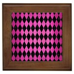 DIAMOND1 BLACK MARBLE & PINK BRUSHED METAL Framed Tiles
