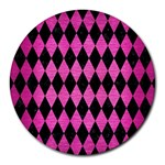 DIAMOND1 BLACK MARBLE & PINK BRUSHED METAL Round Mousepads