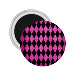 DIAMOND1 BLACK MARBLE & PINK BRUSHED METAL 2.25  Magnets