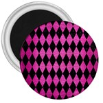 DIAMOND1 BLACK MARBLE & PINK BRUSHED METAL 3  Magnets