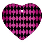 DIAMOND1 BLACK MARBLE & PINK BRUSHED METAL Ornament (Heart)