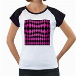 DIAMOND1 BLACK MARBLE & PINK BRUSHED METAL Women s Cap Sleeve T
