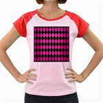 DIAMOND1 BLACK MARBLE & PINK BRUSHED METAL Women s Cap Sleeve T-Shirt