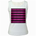 DIAMOND1 BLACK MARBLE & PINK BRUSHED METAL Women s White Tank Top