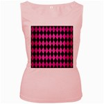 DIAMOND1 BLACK MARBLE & PINK BRUSHED METAL Women s Pink Tank Top