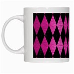 DIAMOND1 BLACK MARBLE & PINK BRUSHED METAL White Mugs