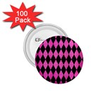 DIAMOND1 BLACK MARBLE & PINK BRUSHED METAL 1.75  Buttons (100 pack)