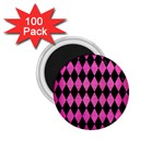 DIAMOND1 BLACK MARBLE & PINK BRUSHED METAL 1.75  Magnets (100 pack)