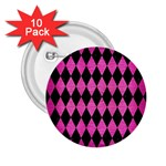 DIAMOND1 BLACK MARBLE & PINK BRUSHED METAL 2.25  Buttons (10 pack)