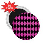 DIAMOND1 BLACK MARBLE & PINK BRUSHED METAL 2.25  Magnets (10 pack)