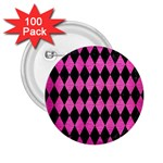 DIAMOND1 BLACK MARBLE & PINK BRUSHED METAL 2.25  Buttons (100 pack)