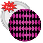 DIAMOND1 BLACK MARBLE & PINK BRUSHED METAL 3  Buttons (10 pack)