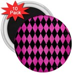 DIAMOND1 BLACK MARBLE & PINK BRUSHED METAL 3  Magnets (10 pack)