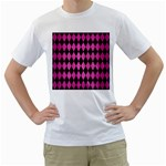 DIAMOND1 BLACK MARBLE & PINK BRUSHED METAL Men s T-Shirt (White) (Two Sided)
