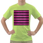 DIAMOND1 BLACK MARBLE & PINK BRUSHED METAL Green T-Shirt
