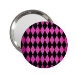 DIAMOND1 BLACK MARBLE & PINK BRUSHED METAL 2.25  Handbag Mirrors