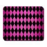 DIAMOND1 BLACK MARBLE & PINK BRUSHED METAL Large Mousepads