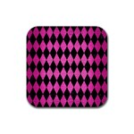 DIAMOND1 BLACK MARBLE & PINK BRUSHED METAL Rubber Coaster (Square)