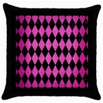 DIAMOND1 BLACK MARBLE & PINK BRUSHED METAL Throw Pillow Case (Black)