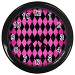 DIAMOND1 BLACK MARBLE & PINK BRUSHED METAL Wall Clocks (Black)