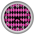 DIAMOND1 BLACK MARBLE & PINK BRUSHED METAL Wall Clocks (Silver)