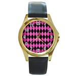 DIAMOND1 BLACK MARBLE & PINK BRUSHED METAL Round Gold Metal Watch