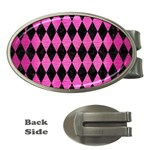 DIAMOND1 BLACK MARBLE & PINK BRUSHED METAL Money Clips (Oval)