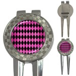DIAMOND1 BLACK MARBLE & PINK BRUSHED METAL 3-in-1 Golf Divots