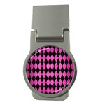 DIAMOND1 BLACK MARBLE & PINK BRUSHED METAL Money Clips (Round)