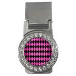 DIAMOND1 BLACK MARBLE & PINK BRUSHED METAL Money Clips (CZ)