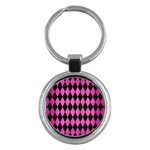 DIAMOND1 BLACK MARBLE & PINK BRUSHED METAL Key Chains (Round)