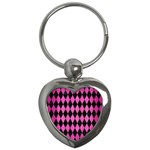 DIAMOND1 BLACK MARBLE & PINK BRUSHED METAL Key Chains (Heart)