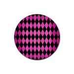 DIAMOND1 BLACK MARBLE & PINK BRUSHED METAL Rubber Coaster (Round)