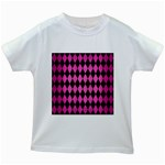 DIAMOND1 BLACK MARBLE & PINK BRUSHED METAL Kids White T-Shirts