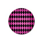 DIAMOND1 BLACK MARBLE & PINK BRUSHED METAL Magnet 3  (Round)