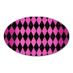 DIAMOND1 BLACK MARBLE & PINK BRUSHED METAL Oval Magnet