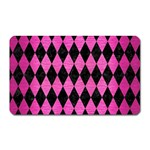 DIAMOND1 BLACK MARBLE & PINK BRUSHED METAL Magnet (Rectangular)