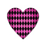 DIAMOND1 BLACK MARBLE & PINK BRUSHED METAL Heart Magnet