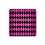 DIAMOND1 BLACK MARBLE & PINK BRUSHED METAL Square Magnet