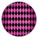 DIAMOND1 BLACK MARBLE & PINK BRUSHED METAL Magnet 5  (Round)