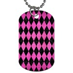 DIAMOND1 BLACK MARBLE & PINK BRUSHED METAL Dog Tag (One Side)