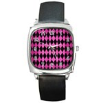 DIAMOND1 BLACK MARBLE & PINK BRUSHED METAL Square Metal Watch